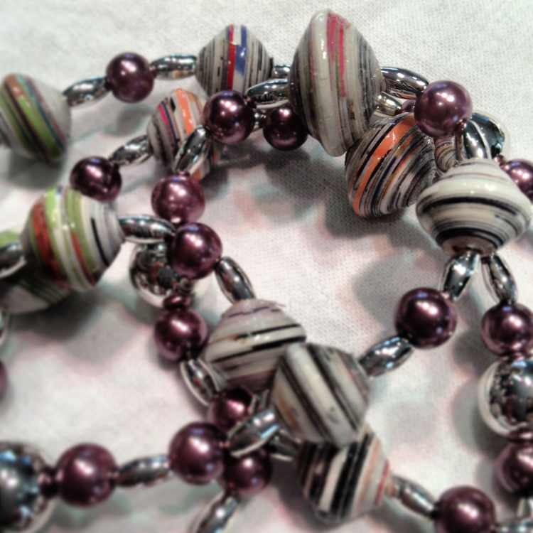 Hand made paper beaded jewellery by local Dubai artist Lynessa.